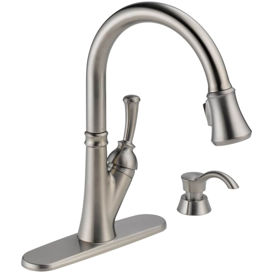 Great Delta Savile Stainless 1 Handle Deck Mount Pull Down Kitchen Faucet Nice Design