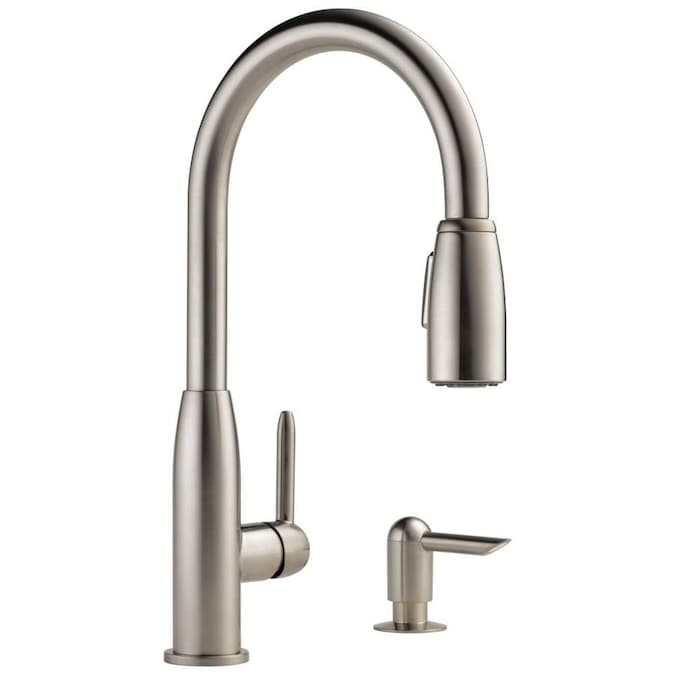 Peerless Stainless 1 Handle Deck Mount Pull Down Handle Kitchen Faucet Deck Plate Included In The Kitchen Faucets Department At Lowes Com