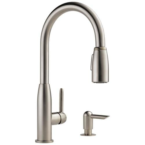 Stainless 1-Handle Deck Mount Pull-down Residential Kitchen Faucet