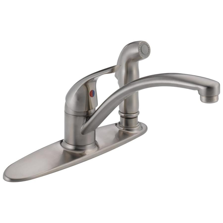 Low Arc Kitchen Faucet Shop Delta Stainless 1 Handle Low Arc Kitchen Faucet At Lowescom
