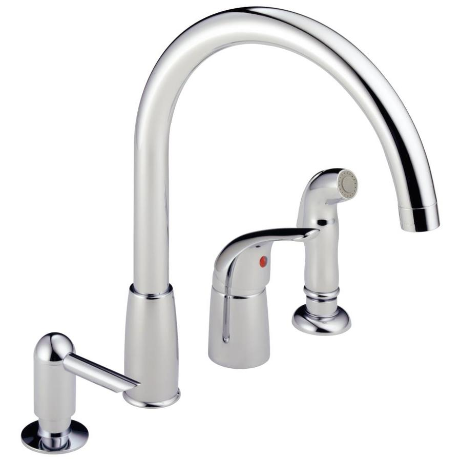 Peerless Waterfall Chrome 1-Handle Deck Mount High-Arc Kitchen Faucet