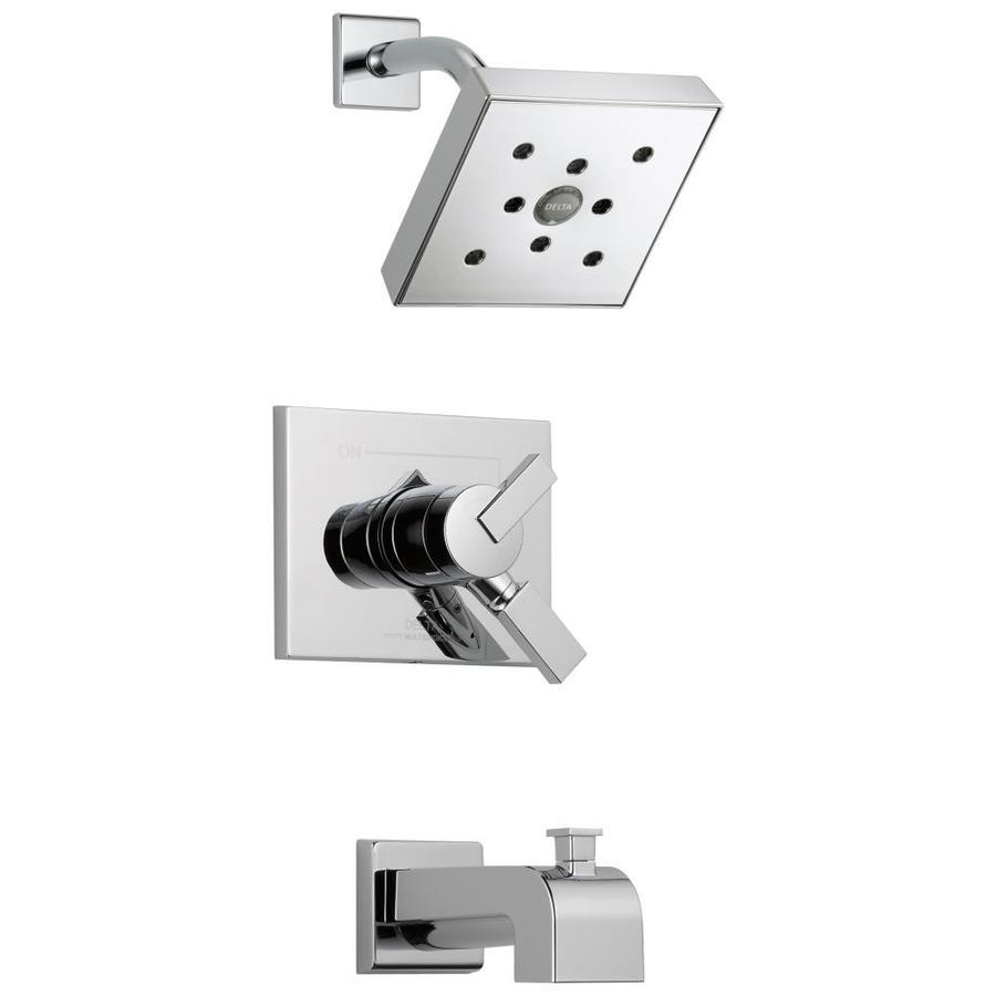 Delta Vero Chrome 1-Handle WaterSense Bathtub and Shower Faucet Trim Kit with Rain Showerhead