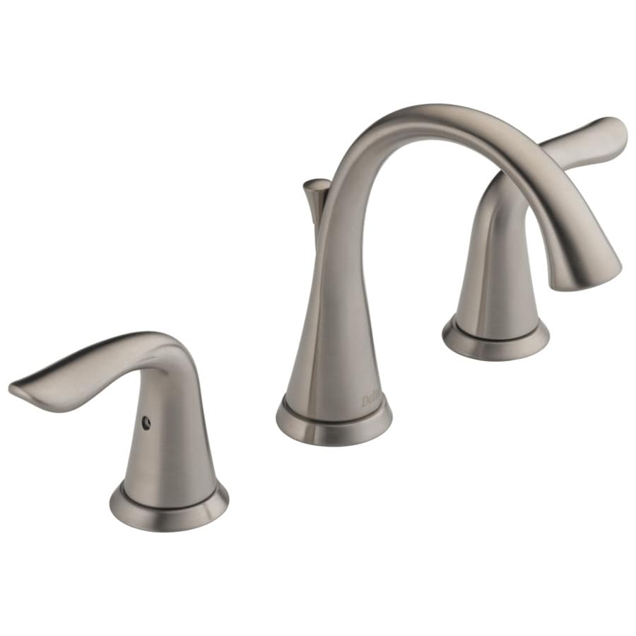 Shop delta lahara stainless 2 handle widespread bathroom sink faucet at for Delta widespread bathroom faucet