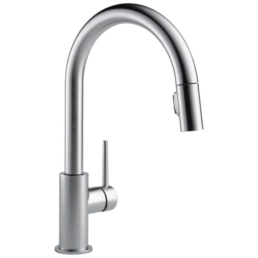 Shop Delta Trinsic Arctic Stainless 1 Handle Deck Mount Pull Down Kitchen Faucet At