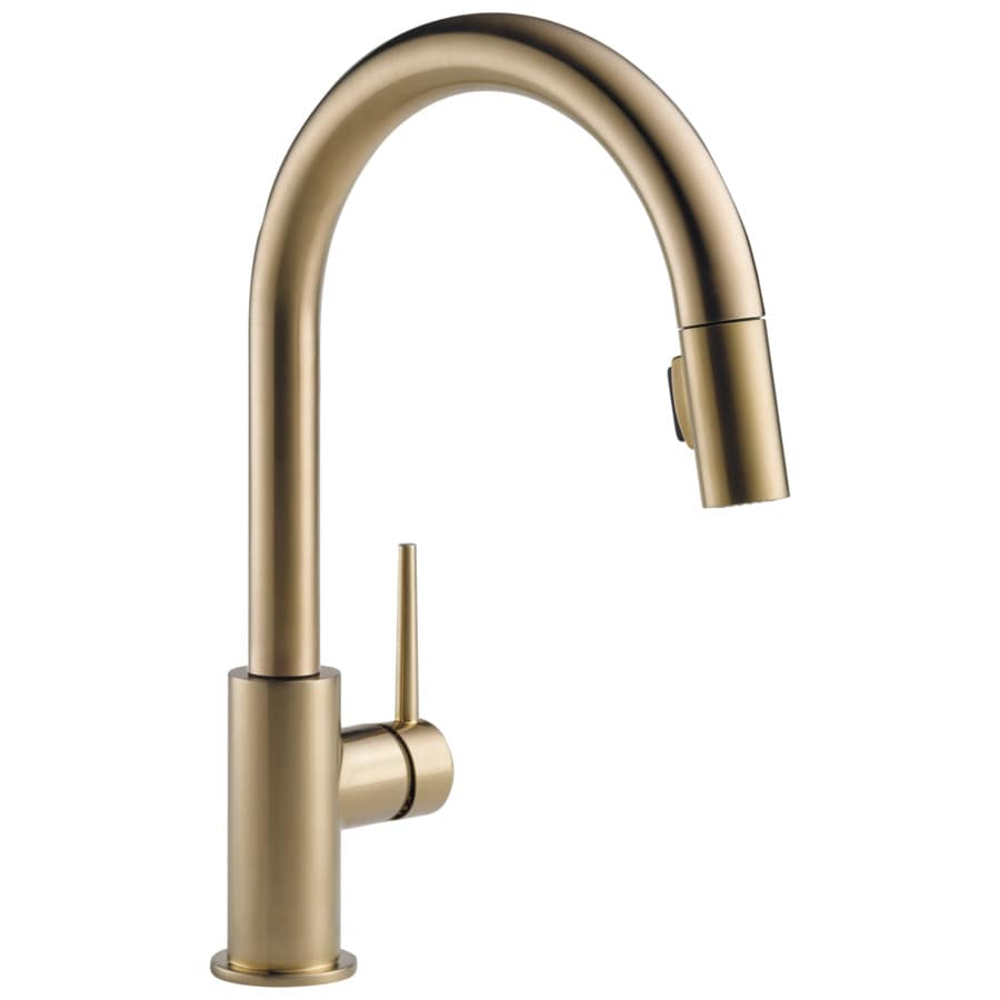 Delta Trinsic Champagne Bronze 1-Handle Deck Mount Pull-Down Kitchen Faucet