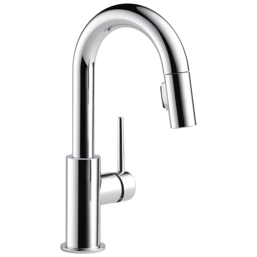 Delta Trinsic Chrome 1-Handle Deck Mount Pull-Down Bar and Prep Faucet