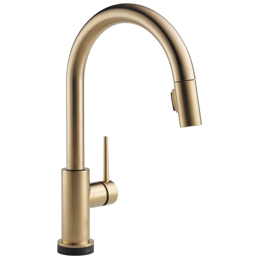 Shop Delta Trinsic Touch2o Champagne Bronze 1 Handle Deck Mount Pull Down Kitchen Faucet At