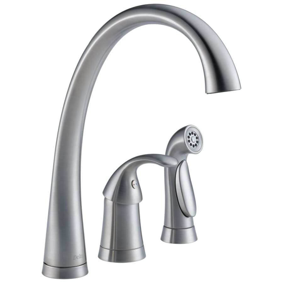 delta pilar waterfall arctic stainless 1 handle deck mount high arc kitchen faucet