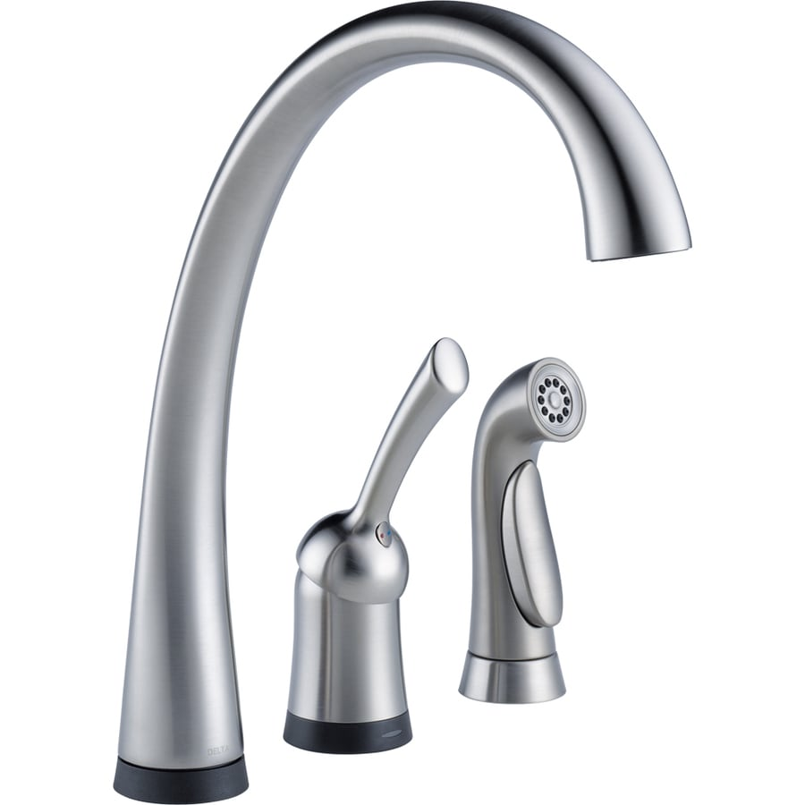 Delta Pilar Touch2O Arctic Stainless 1-Handle High-Arc Touch Kitchen Faucet with Side Spray