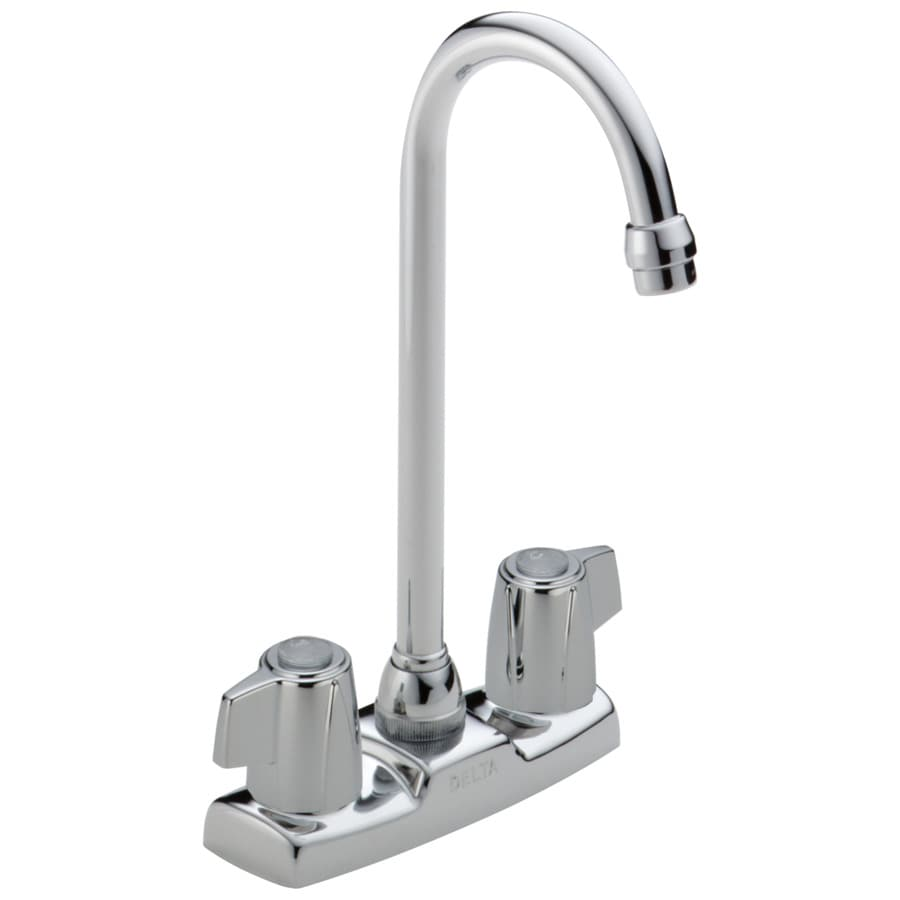 Delta Classic Chrome 2-Handle Deck Mount High-arc Bar and Prep Faucet