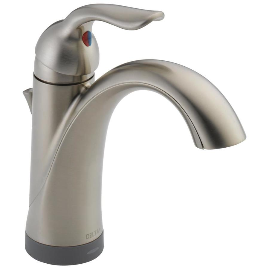 Delta Lahara Stainless 1-Handle Single Hole/4-in Centerset WaterSense Bathroom Faucet (Drain Included)