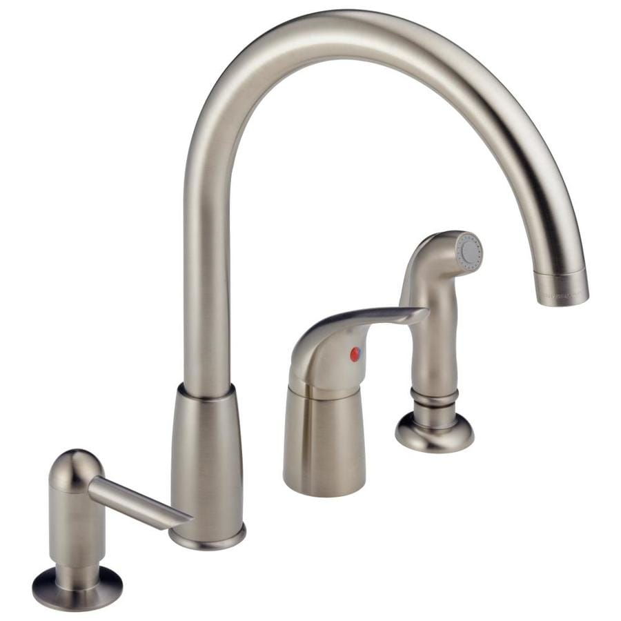 Shop Peerless Stainless 1 Handle Deck Mount High Arc Kitchen Faucet At