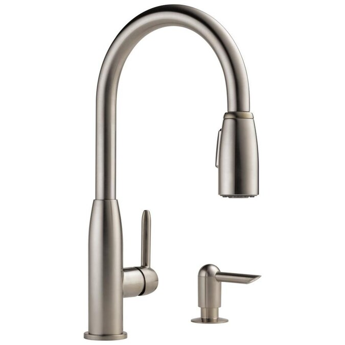Peerless Apex Stainless 1 Handle Deck Mount Pull Down Handle Lever Kitchen Faucet Deck Plate Included In The Kitchen Faucets Department At Lowes Com
