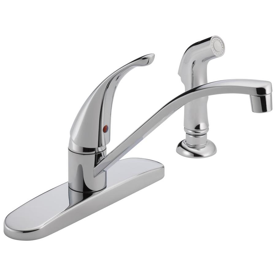 Peerless Chrome 1-Handle Deck Mount Low-Arc Kitchen Faucet