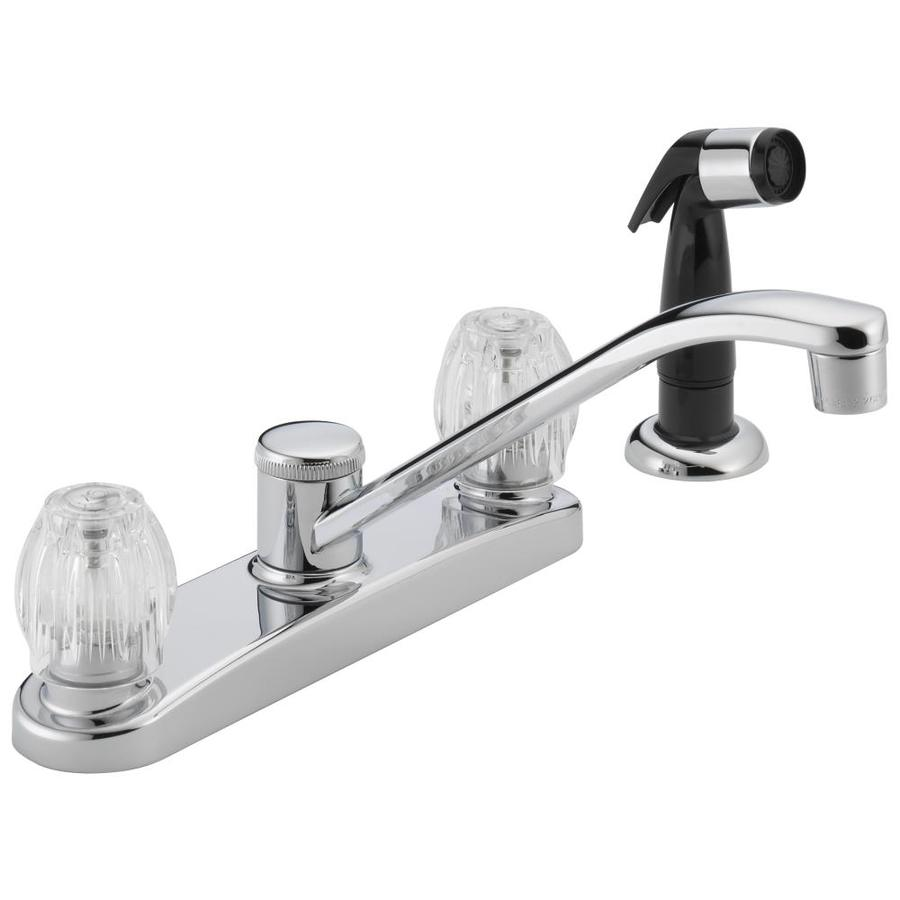 Peerless Chrome 2-Handle Low-Arc Kitchen Faucet with Side Spray