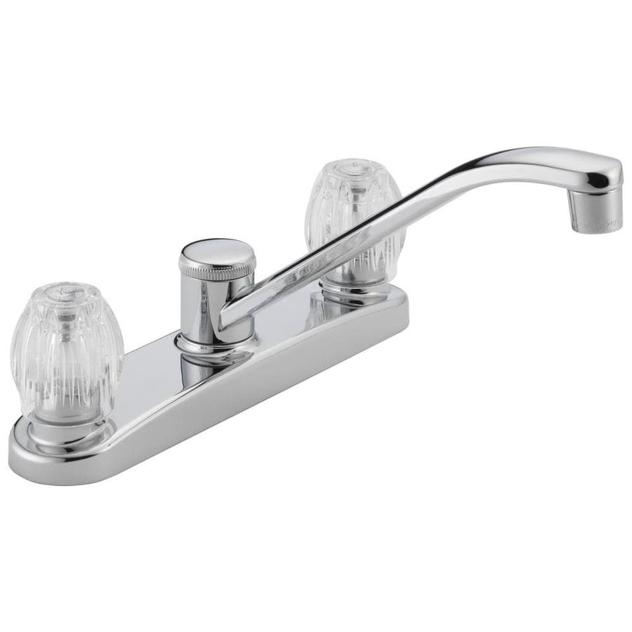 shop peerless chrome 2 handle deck mount low arc kitchen