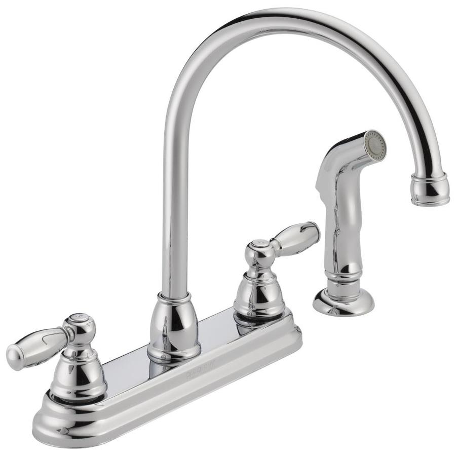Peerless Chrome 2-Handle High-Arc Kitchen Faucet with Side Spray