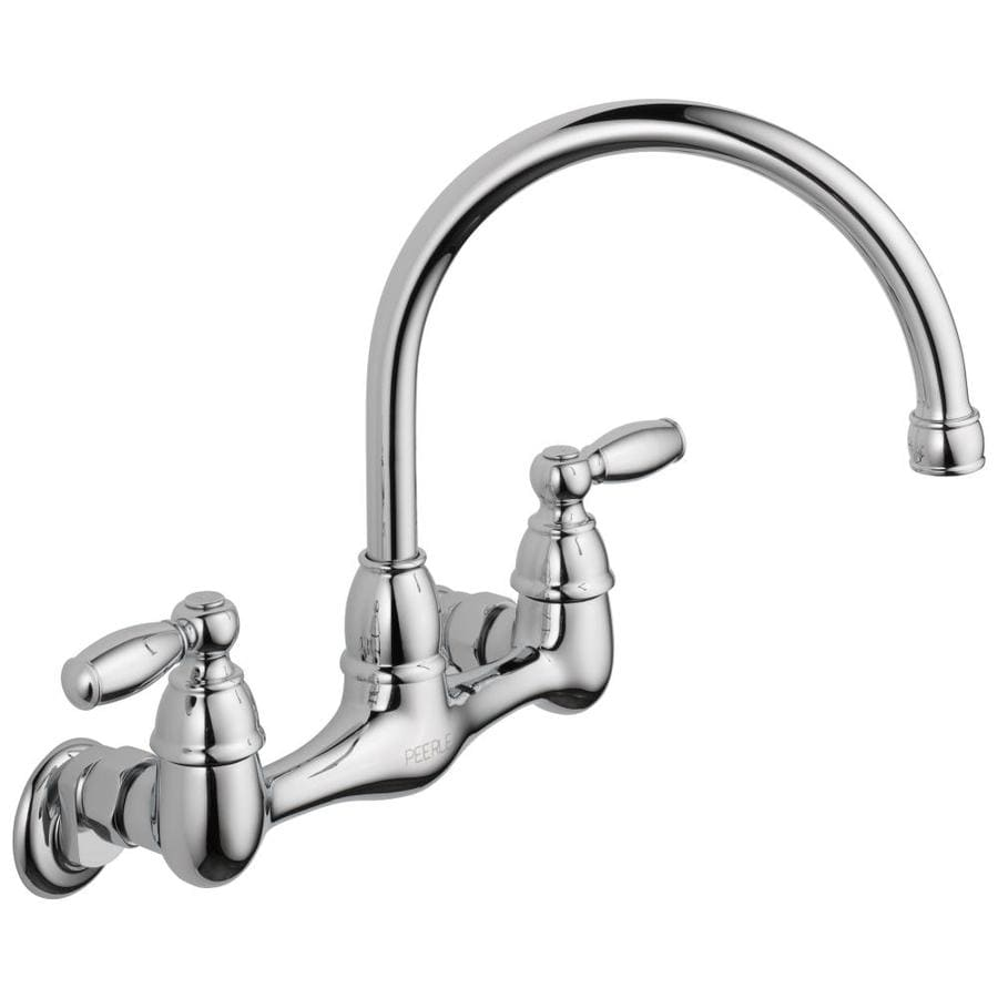Peerless Chrome 2 Handle Wall Mount High Arc Kitchen Faucet At Lowes Com