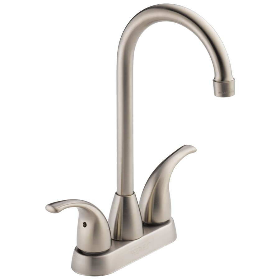 Merveilleux Peerless Stainless 2 Handle Deck Mount High Arc Bar And Prep Faucet