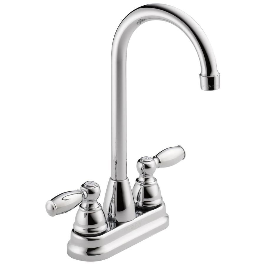 Peerless Chrome 2-Handle Deck Mount High-arc Bar and Prep Faucet
