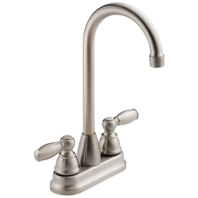 Stainless 2-handle Deck Mount Bar and Prep Kitchen Faucet