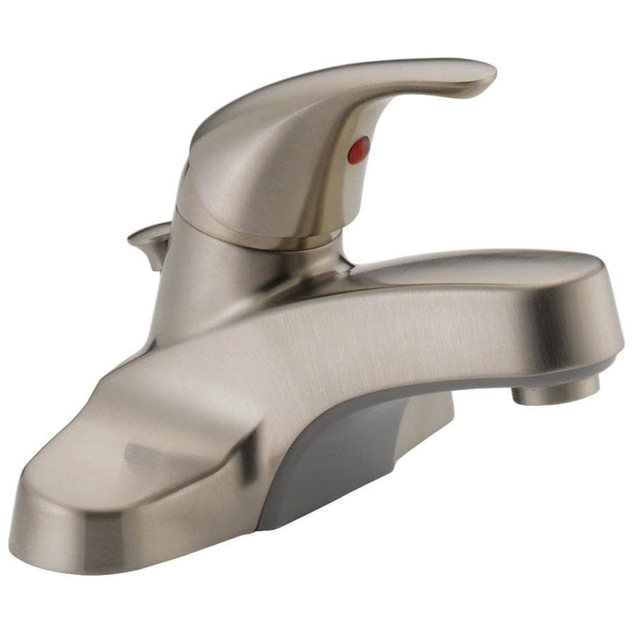 Peerless Core Brushed Nickel 1-Handle 4-in Centerset WaterSense Bathroom Faucet (Drain Included)