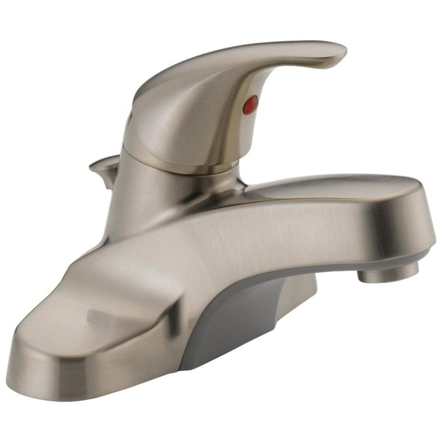 Peerless Core Brushed Nickel 1-Handle 4-in Centerset WaterSense Bathroom Faucet (Drain Included)