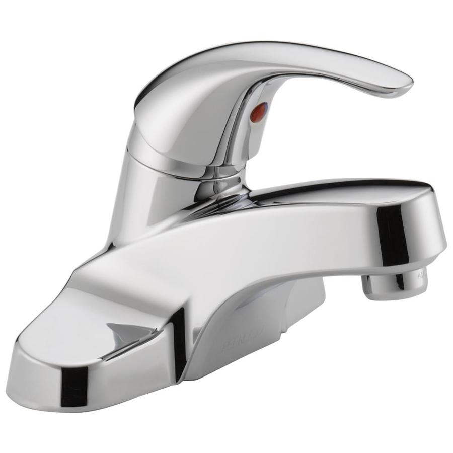 Peerless Choice Chrome 1-Handle 4-in Centerset WaterSense Bathroom Faucet (Drain Included)