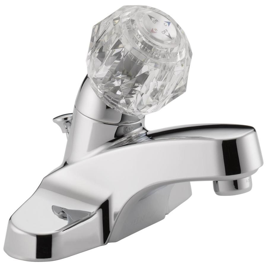 Peerless Chrome 1-Handle 4-in Centerset WaterSense Bathroom Faucet (Drain Included)