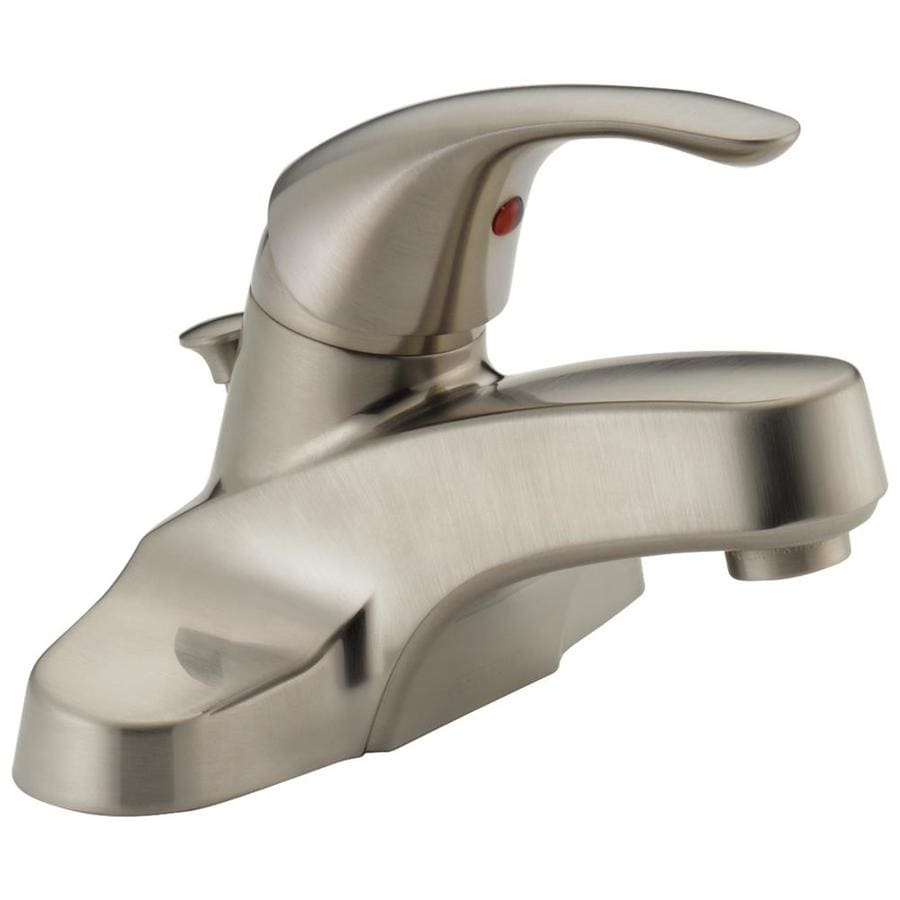 Peerless Choice Brushed Nickel 1-Handle 4-in Centerset WaterSense Bathroom Faucet (Drain Included)
