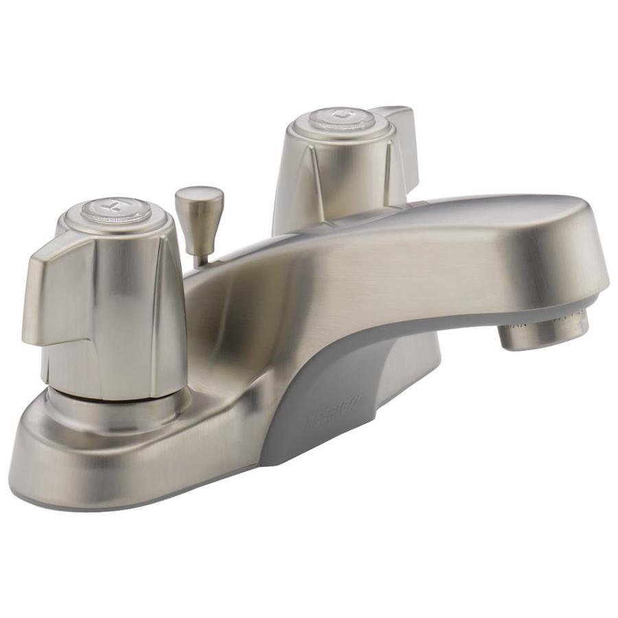 Peerless Brushed Nickel 2-Handle 4-in Centerset WaterSense Bathroom Faucet (Drain Included)