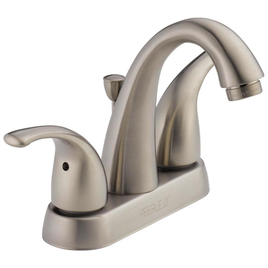 Peerless Apex Brushed Nickel 2-Handle 4-in Centerset WaterSense Bathroom Faucet (Drain Included)