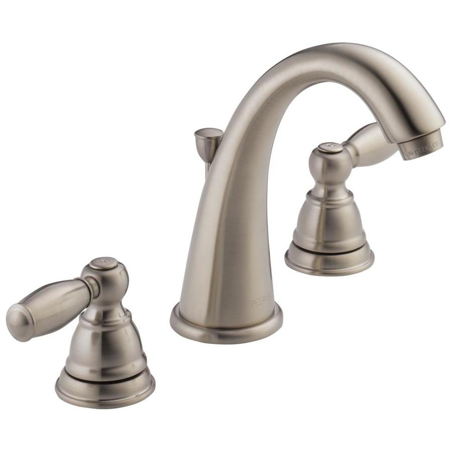 Peerless Apex Brushed Nickel 2 Handle Widespread Bathroom Sink Faucet
