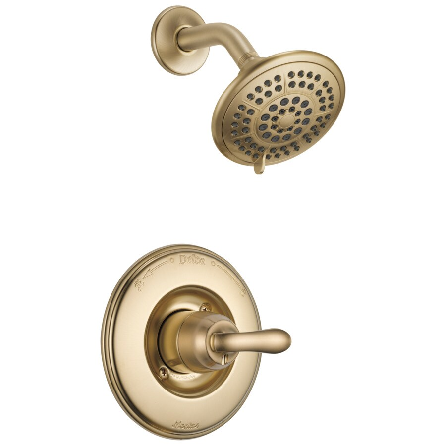Delta Linden Champagne Bronze 1-Handle Shower Faucet Trim Kit with Rain Showerhead