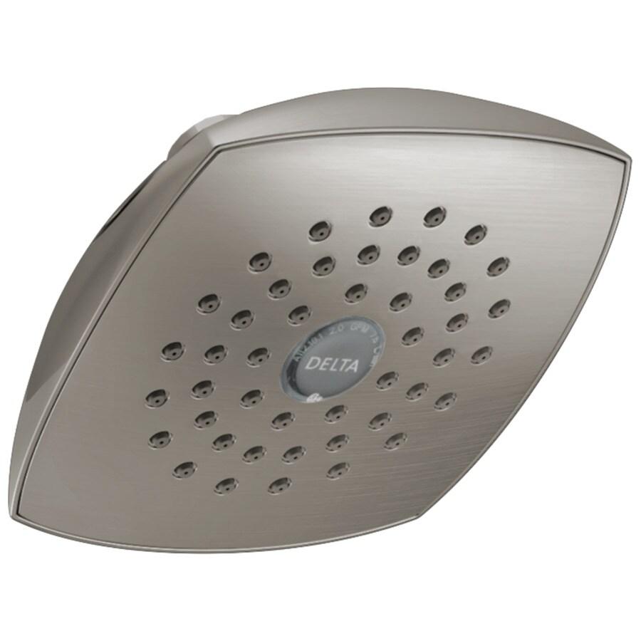Delta 5.25-in 2.0-GPM (7.6-LPM) Stainless 1-Spray WaterSense Rain Showerhead