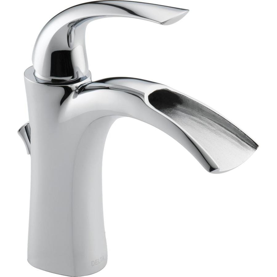 single hole bathroom sink faucet shop delta nyla chrome 1 handle single bathroom sink 24116
