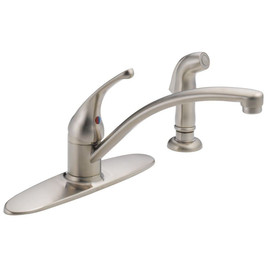 Shop Delta Foundations Stainless 1 Handle Deck Mount Low Arc Kitchen Faucet At