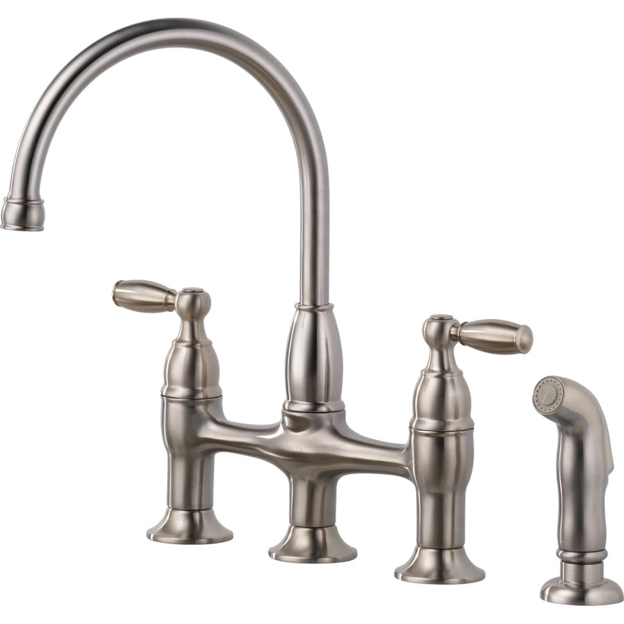 delta dennison stainless 2 handle high arc deck mount kitchen faucet