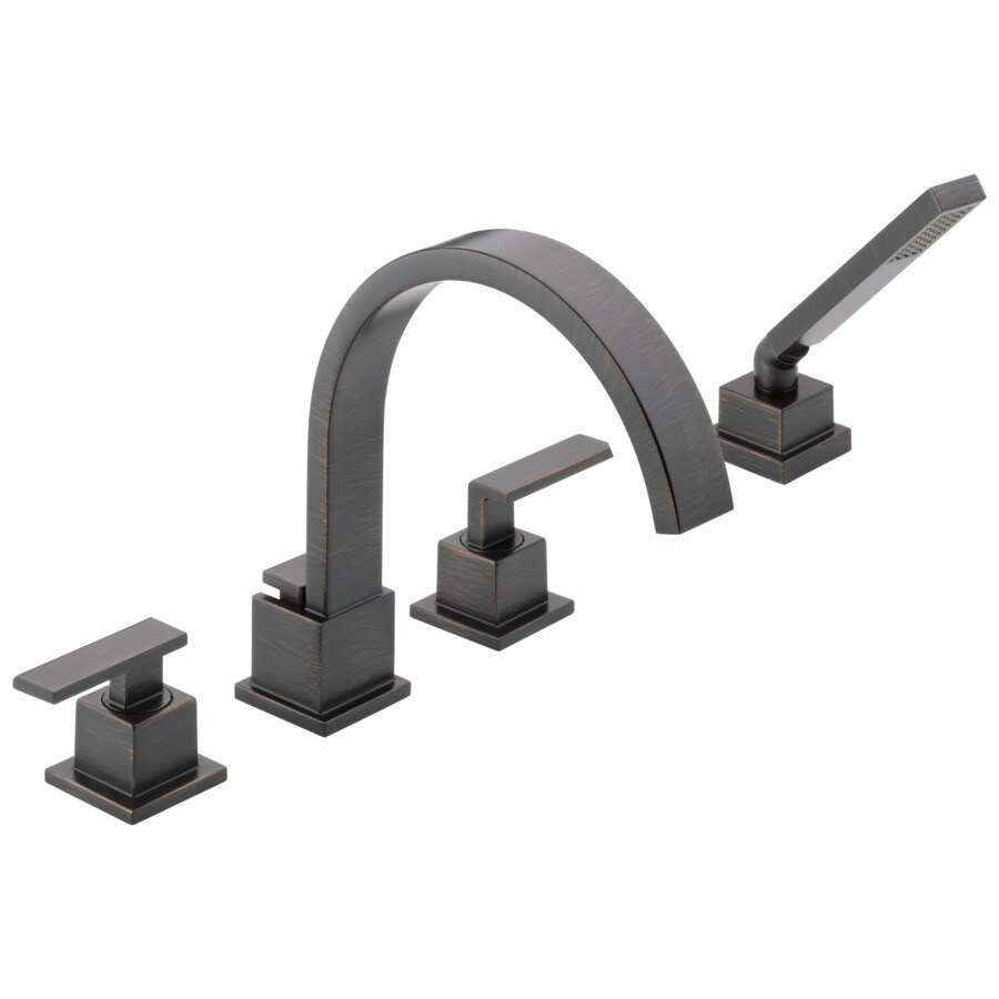 delta vero venetian bronze 2 handle deck mount bathtub faucet at lowes