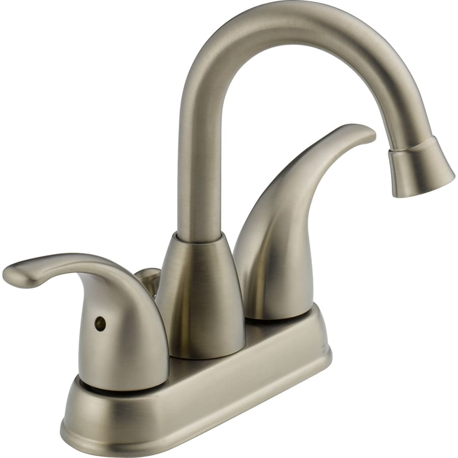 Peerless Transitional Brushed Nickel 2-Handle 4-in Centerset WaterSense Bathroom Faucet (Drain Included)
