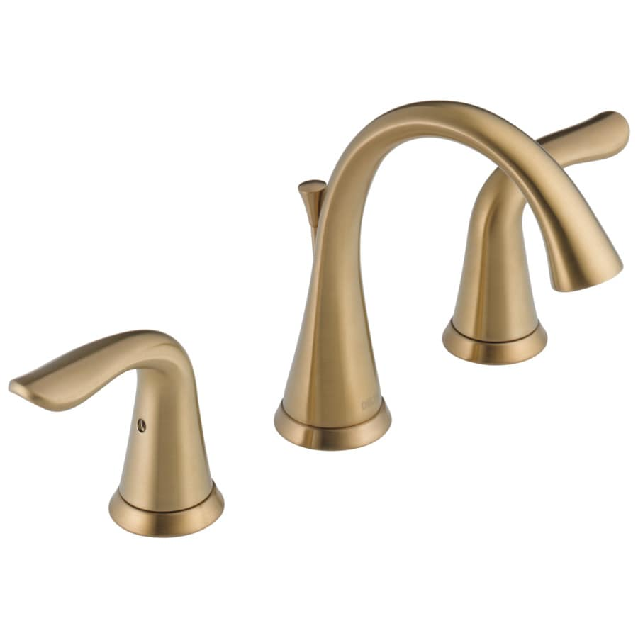 Shop delta lahara champagne bronze 2 handle widespread bathroom sink faucet at for Delta widespread bathroom faucet