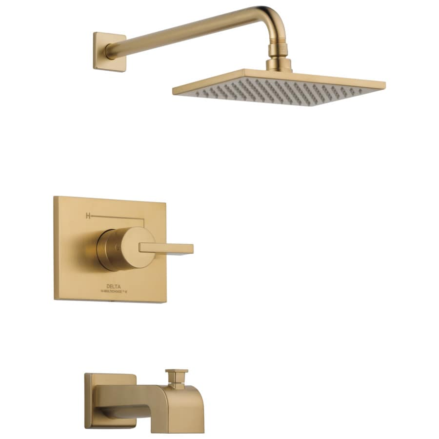 shop delta vero champagne bronze 1 handle bathtub and shower faucet trim kit with single. Black Bedroom Furniture Sets. Home Design Ideas