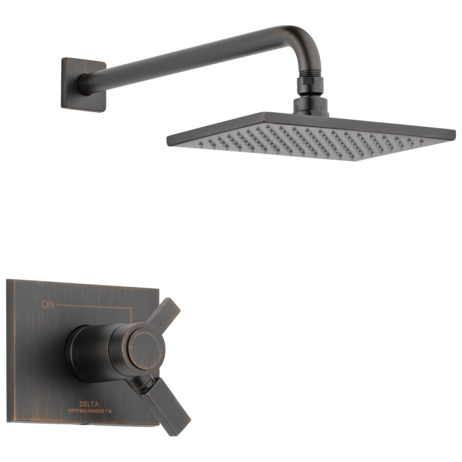 Delta Vero Thermostatic Venetian Bronze 1-Handle Shower Faucet Trim Kit with Rain Showerhead