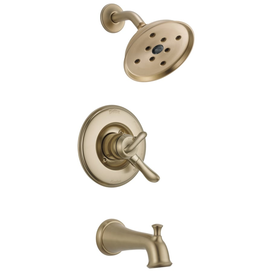 Delta Linden Champagne Bronze 1-Handle WaterSense Bathtub and Shower Faucet Trim Kit with Single Function Showerhead