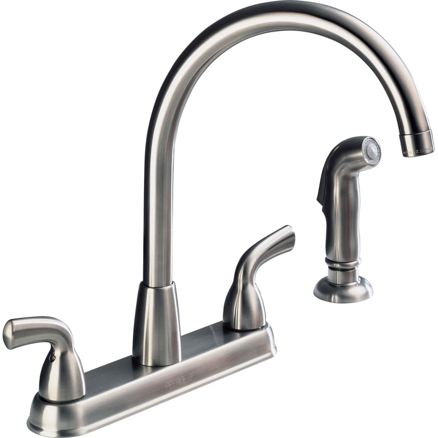 Peerless Stainless 2 Handle High Arc Deck Mount Kitchen Faucet