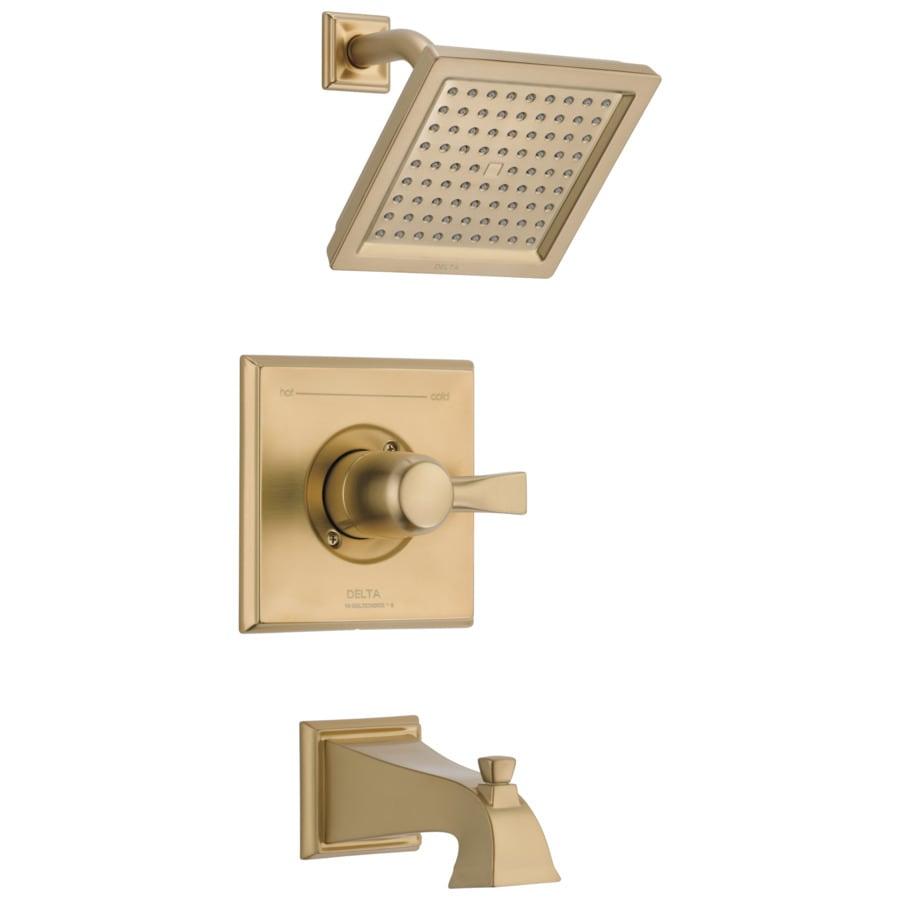 Delta Dryden Champagne Bronze 1-Handle Bathtub and Shower Faucet Trim Kit with Rain Showerhead