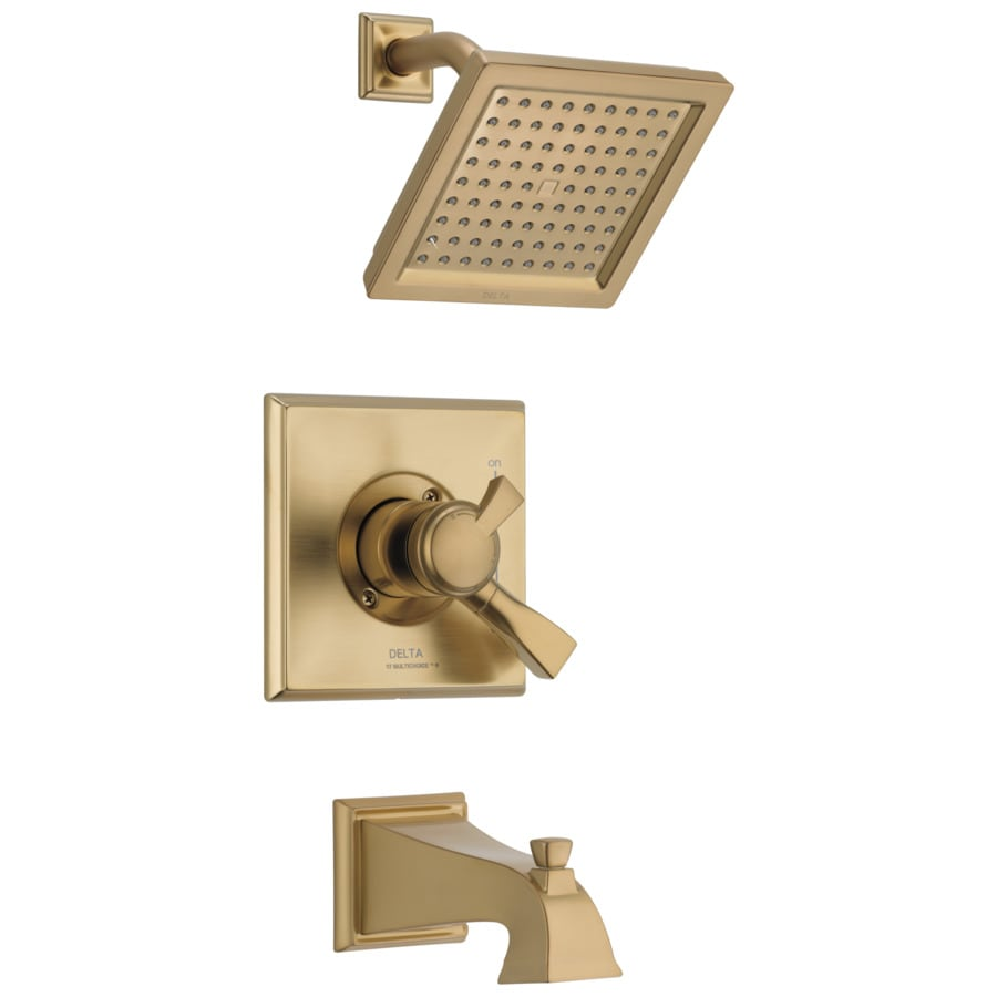 Delta Dryden Champagne Bronze 1-Handle Bathtub and Shower Faucet Trim Kit with Rain Showerhead