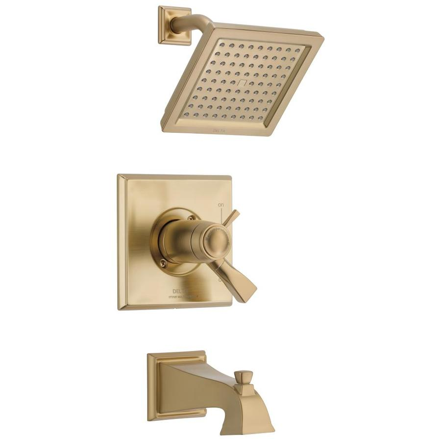 Delta Dryden Champagne Bronze 1-Handle Bathtub and Shower Faucet Trim Kit with Single Function Showerhead