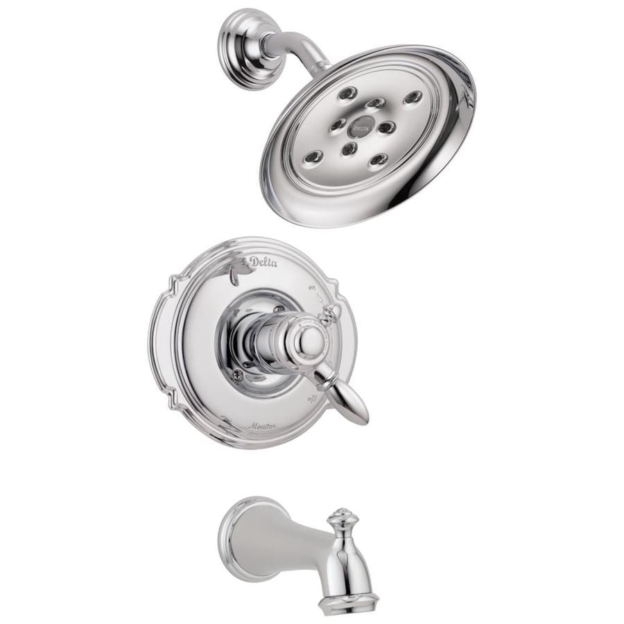 Delta Victorian Chrome 1-Handle WaterSense Bathtub and Shower Faucet Trim Kit with Rain Showerhead