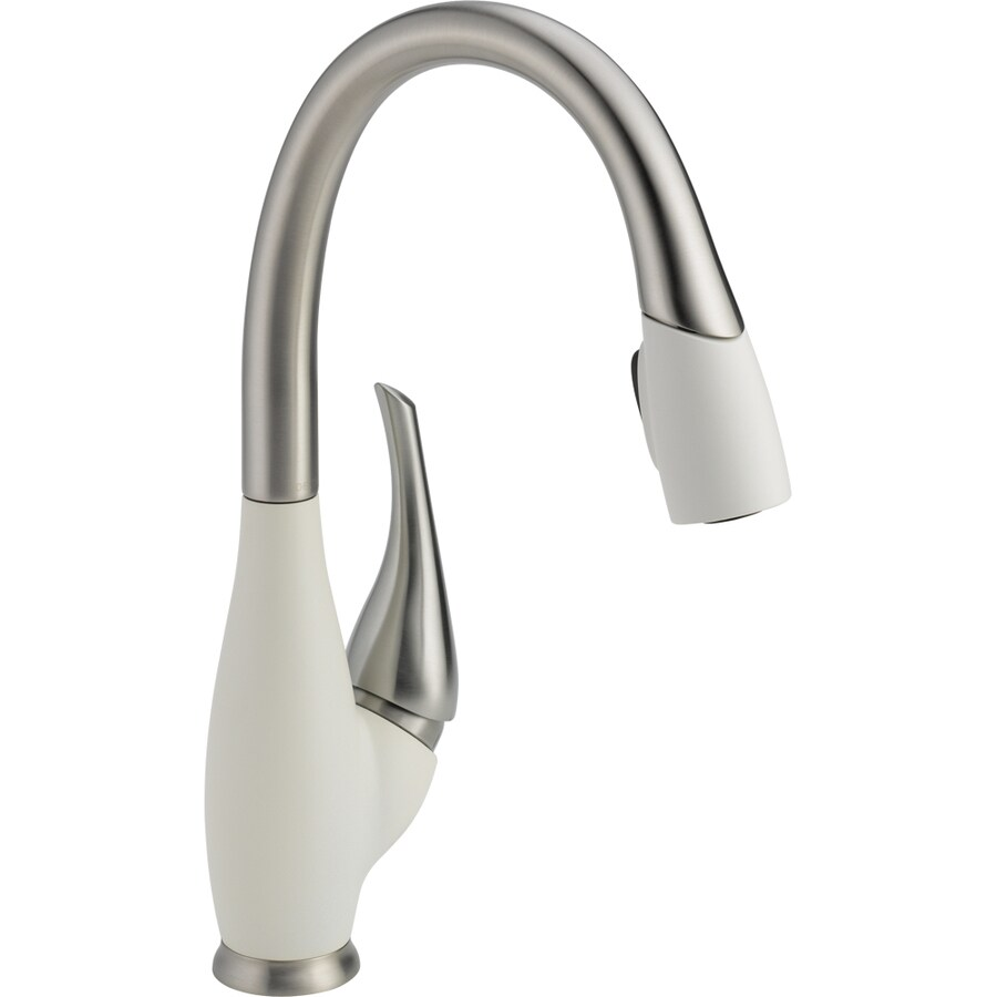 Delta Fuse MagnaTite Stainless and Snowflake White 1-Handle Deck Mount Pull-Down Kitchen Faucet